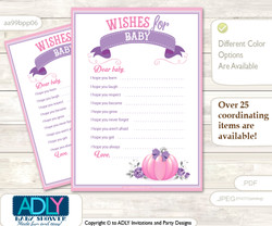 Girl Pumpkin Wishes for a Baby, Well Wishes for a Little Pumpkin Printable Card, Puprle, Pink