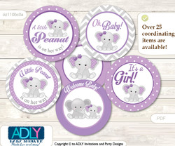Baby Shower Girl Elephant Cupcake Toppers Printable File for Little Girl and Mommy-to-be, favor tags, circle toppers, Chevron, Purple Grey