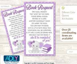 Request a Book Instead of a Card for Girl Elephant Baby Shower or Birthday, Printable Book DIY Tickets, Chevron,Purple Grey