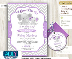 Elephant Girl Shower Invitation in Purple Grey chevron, polka, mommy-to-be and baby elephant, elephant thank you favor tag
