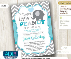 Turquoise Grey Elephant Invitation for Boy Baby Shower in Gray Chevron, Aqua, Teal. A sweet Little Peanut is on his way, boy elephant