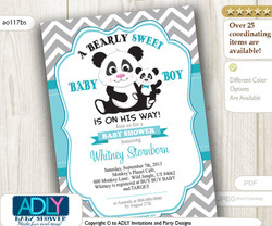 Grey Turquoise Panda Invitation for Baby Shower,Grey Chevron Pattern. A Bearly Sweet Baby Boy is on his way, teal- ao116bs