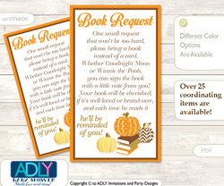 Request a Book Instead of a Card for Boy Pumpkin Baby Shower or Birthday, Printable Book DIY Tickets, Chevron,Orange Brown