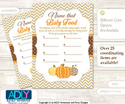 Boy Pumpkin Guess Baby Food Game or Name That Baby Food Game for a Baby Shower, Orange Brown Chevron