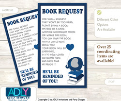 Request a Book Instead of a Card for Peanut Elephant Baby Shower or Birthday, Printable Book DIY Tickets, Chevron,Dark Blue