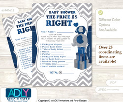 Printable Peanut Elephant Price is Right Game Card for Baby Elephant Shower, Dark Blue, Chevron