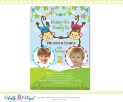 Personalized  Twin Invite Second Birthday Invitation card for boy and girl with monkeys - ONLY digital file - you print