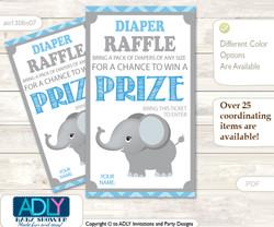 Boy Elephant Diaper Raffle Printable Tickets for Baby Shower, Grey Blue , Chevron
