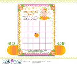 Orange Pink Pumpkin Girl Bingo Game Printable Card for Baby Girl Shower DIY, it's a girl  - ONLY digital file - you print