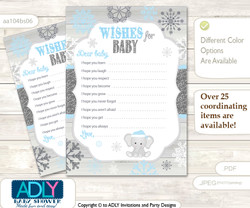 Snowflake Elephant Wishes for a Baby, Well Wishes for a Little Elephant Printable Card, Winter, Grey Blue