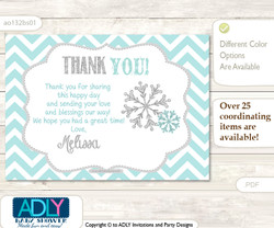 Neutral Snowflake Thank you Printable Card with Name Personalization for Baby Shower or Birthday Party