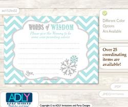 Aqua Grey Neutral Snowflake Words of Wisdom or an Advice Printable Card for Baby Shower, Chevron