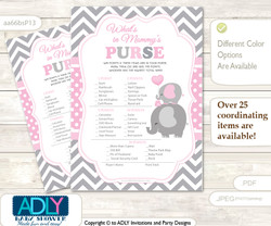Girl Elephant What is in Mommy's Purse, Baby Shower Purse Game Printable Card , Polka,  Chevron