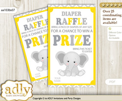 Grey Elephant Diaper Raffle Printable Tickets for Baby Shower, Yellow, Chevron