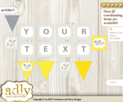 Personalized Grey Elephant Printable Banner for Baby Shower, Yellow, Chevron