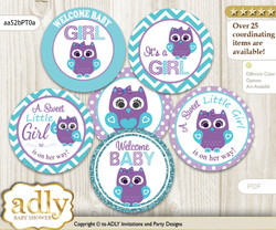Baby Shower Girl Owl Cupcake Toppers Printable File for Little Girl and Mommy-to-be, favor tags, circle toppers, Chevron, Teal Purple