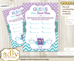 Girl Owl Dirty Diaper Game or Guess Sweet Mess Game for a Baby Shower Teal Purple, Chevron