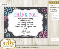 Boy Girl Snowflake Thank you Printable Card with Name Personalization for Baby Shower or Birthday Party