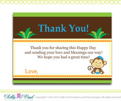 Boy Monkey Baby Shower, Birthday Thank you Note Card, thank you tag DIY  - ONLY digital file - ao01