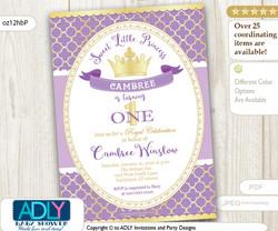Purple and Gold Princess Birthday Invitation, lavender