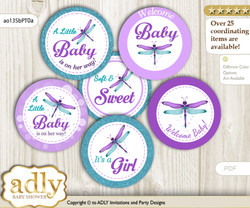 Baby Shower Girl Dragonfly Cupcake Toppers Printable File for Little Girl and Mommy-to-be, favor tags, circle toppers, Glitter, Purple Teal