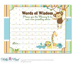 King Lion Boy Jungle Words of Wisdom, Advice Card for Baby Shower Printable DIY for Boy, Safari - aa31