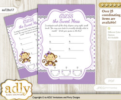 Girl Monkey Dirty Diaper Game Or Guess Sweet Mess Game For A Baby Shower  Purple Grey