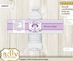 Girl Owl Water Bottle Wrappers, Labels for a Owl  Baby Shower, Purple Grey, Chevron