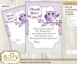 Girl  Owl Thank you Cards for a Baby Girl Shower or Birthday DIY Purple Grey, Chevron