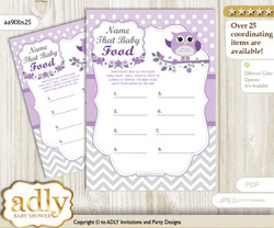 Girl Owl Guess Baby Food Game or Name That Baby Food Game for a Baby Shower, Purple Grey Chevron