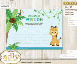 Blue Green Boy Giraffe Words of Wisdom or an Advice Printable Card for Baby Shower, Safari