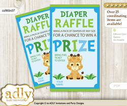 Boy Giraffe Diaper Raffle Printable Tickets for Baby Shower, Blue Green, Safari