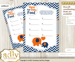 Boy Elephant Guess Baby Food Game or Name That Baby Food Game for a Baby Shower, Chevron Chevron