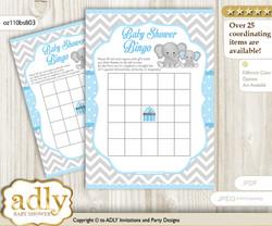 Grey Elephant Bingo Game Printable Card for Baby Boy Shower DIY grey, Blue Grey, Chevron