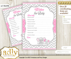 Girl Elephant Wishes for a Baby, Well Wishes for a Little Elephant Printable Card, Chevron, Grey Pink