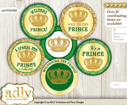 Baby Shower Prince Royal Cupcake Toppers Printable File for Little Prince and Mommy-to-be, favor tags, circle toppers, Burlap, Green Gold
