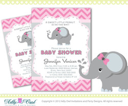 Personalized Pink Elephant Baby Shower Printable DIY party invitation for girl, chevron, pink, grey- ONLY digital file - you print - Instant Download