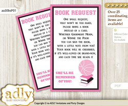 Request a Book Instead of a Card for Girl MVP Baby Shower or Birthday, Printable Book DIY Tickets, Basketball, Pink Black
