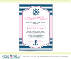 It's a Girl Nautical Baby Shower for Baby Girl Printable DIY party, birthday invitation Pink, Navy Blue - Instant Download