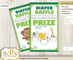 Boy Jungle Diaper Raffle Printable Tickets for Baby Shower, green, Animals