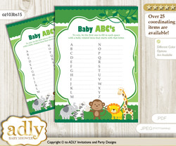 Boy Jungle Baby ABC's Game, guess Animals Printable Card for Baby Jungle Shower DIY – Animals