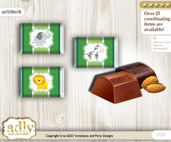 Boy Jungle Chocolate Nuggets Candy Wrapper Label for Baby Boy Shower  green , Animals