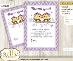 Twins  Monkey Thank you Cards for a Baby Twins Shower or Birthday DIY Lavender, Girls