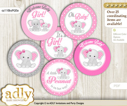 Baby Shower Girl Elephant Cupcake Toppers Printable File for Little Girl and Mommy-to-be, favor tags, circle toppers, Polka, Pink Grey