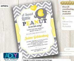 Yellow Grey Boy Elephant Invitation with Chevron Pattern