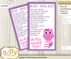 Request a Book Instead of a Card for Girl Owl Baby Shower or Birthday, Printable Book DIY Tickets, Glitter, Purple Pink