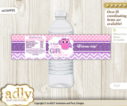 Girl Owl Water Bottle Wrappers, Labels for a Owl  Baby Shower, Purple Pink, Glitter