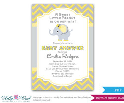 Yellow Grey Girl Elephant Baby Shower Printable DIY party invitation for girl, chevron, yellow gray - Instant Download