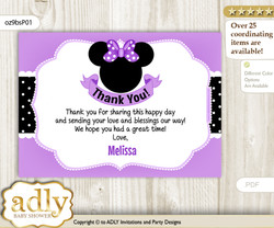 Minnie Mouse Printable Card with Name Personalization for Baby Shower or Birthday Party