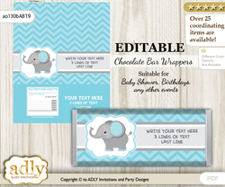 Personalizable Peanut Elephant Chocolate Bar Candy Wrapper Label for Peanut  baby shower, birthday aqua grey , Chevron